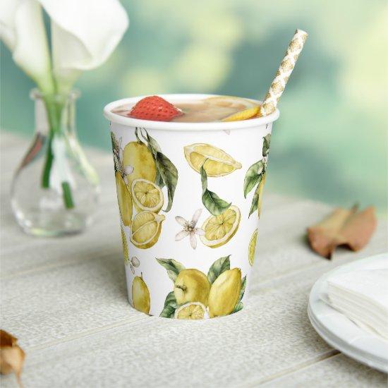 Luscious Lemons Pattern Paper Cups