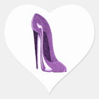 Luscious Lilac Stiletto High Heel Shoe Heart Sticker