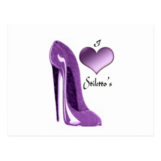 Luscious Lilac Stiletto Shoe and 3D Heart Postcard