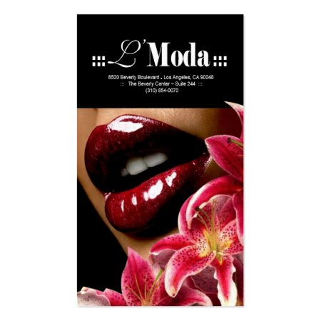 Lush Red Lips and Lilies Beauty Salon Make Up Artist Business Cards