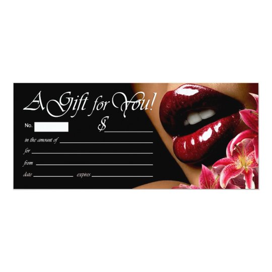 Luscious Lips Beauty Spa Gift Certificate Card