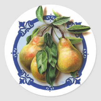 Luscious pears on blue. Delicious fruit. Classic Round Sticker