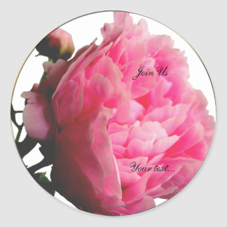 Luscious Pink Peony Custom Envelope Seals Classic Round Sticker
