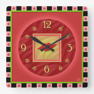 Luscious Red Lipstick Square Wall Clock