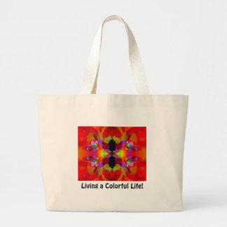 Luscious Red & Multicolored Kaleidoscopic Beauty Jumbo Tote Bag