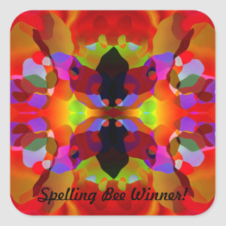 Luscious Red & Multicolored Kaleidoscopic Beauty Square Sticker