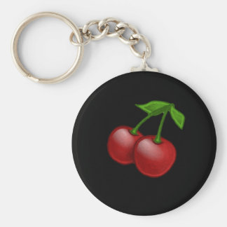 Luscious Retro Cherries Keychain