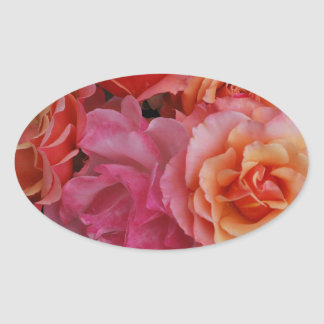 Luscious roses oval sticker