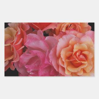 Luscious roses rectangular sticker