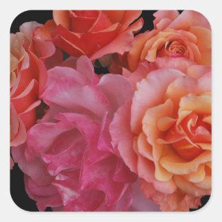 Luscious roses square sticker