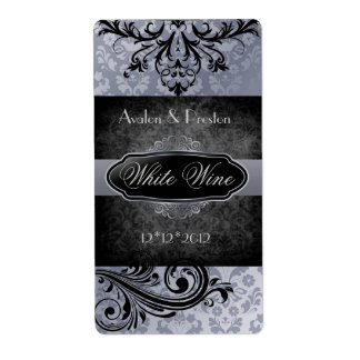 Luscious Vintage Grey Scroll Wedding Wine Label