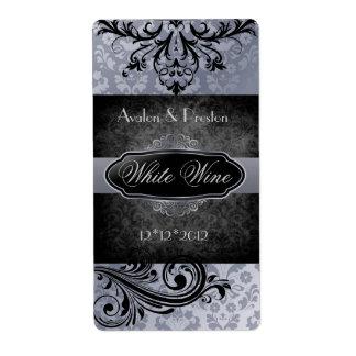 Luscious Vintage Grey Scroll Wedding Wine Label