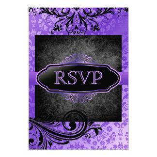 Luscious Vintage Purple Scroll Rsvp Invitations