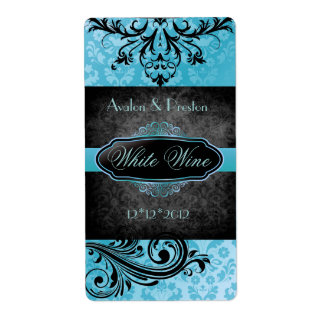Luscious Vintage Teal Scroll Wedding Wine Label