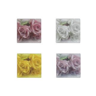 Luscious Watercolor Roses  - 4 Stone Magnet Set