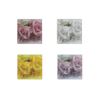 Luscious Watercolor Roses  - 4 Stone Magnet Set Stone Magnet