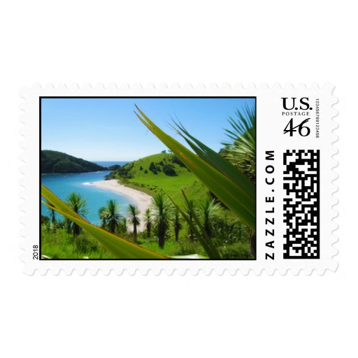 Lush Beach Scene Postage Stamps