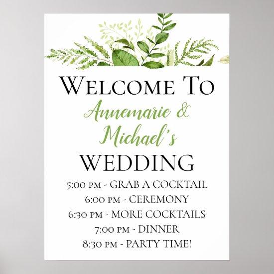 Lush Botanicals Wedding Ceremony Details Welcome Poster