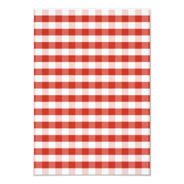 Beach Themed Lush Dahlia Red & White Gingham Check Plaid Card