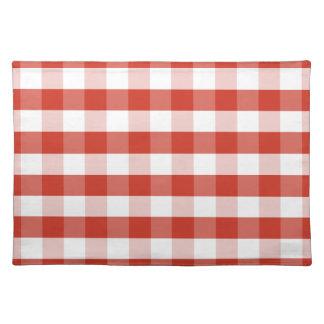 Lush Dahlia Red & White Gingham Check Plaid Cloth Placemat