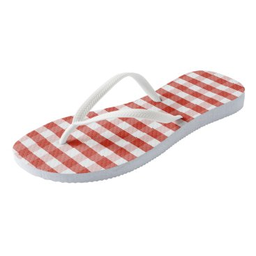 Beach Themed Lush Dahlia Red & White Gingham Check Plaid Flip Flops