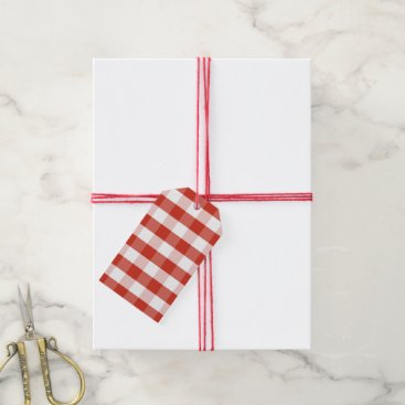 Aztec Themed Lush Dahlia Red & White Gingham Check Plaid Gift Tags
