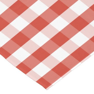 Beach Themed Lush Dahlia Red & White Gingham Check Plaid Long Table Runner