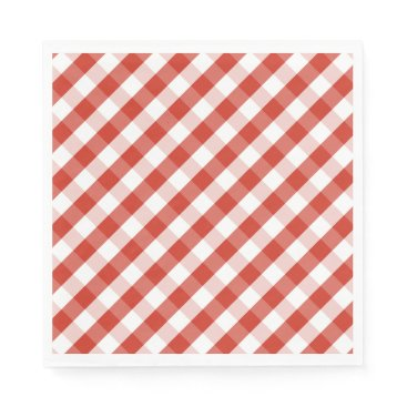 Beach Themed Lush Dahlia Red & White Gingham Check Plaid Paper Napkin