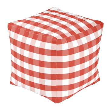 Beach Themed Lush Dahlia Red & White Gingham Check Plaid Pouf