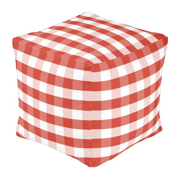 Lush Dahlia Red & White Gingham Check Plaid Pouf