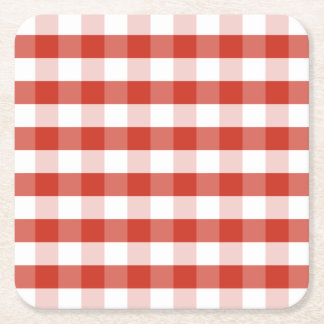 Lush Dahlia Red & White Gingham Check Plaid Square Paper Coaster