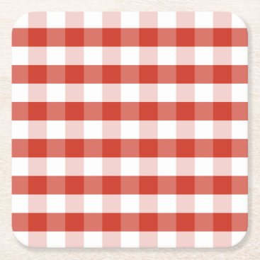 Beach Themed Lush Dahlia Red & White Gingham Check Plaid Square Paper Coaster