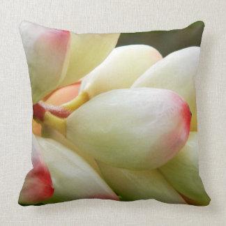 Lush exotic tropical flower throw pillow