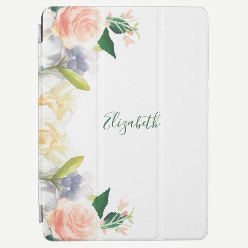 Lush florals white coral peach summer name iPad air cover