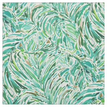 Beach Themed LUSH FREEDOM Watercolor Palm Print Fabric