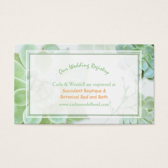 Lush garden succulents wedding registry business card for Best stores for wedding registry