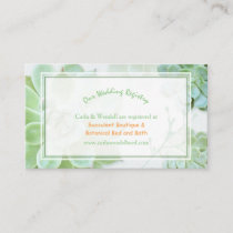 Lush Garden Succulents Wedding Registry Enclosure Card