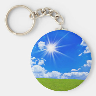 Lush Grass And Blue Skies Keychain