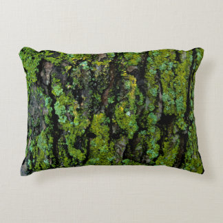 Lush, green, and mossy tree trunk accent pillow