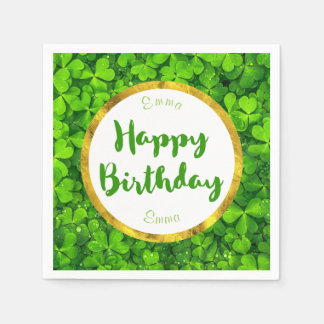 Lush Green Clovers with FAUX Gold Foil Birthday Napkin