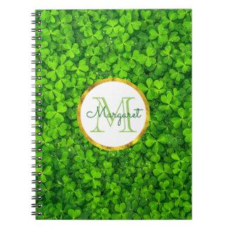 Lush Green Clovers with FAUX Gold Foil & Monogram Notebook