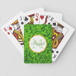 Lush Green Clovers with FAUX Gold Foil & Monogram Playing Cards
