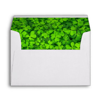 Lush Green Clovers with Water Drops Envelope