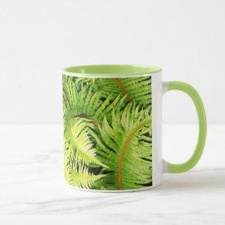 Lush green fern leaves coffee mujg mug