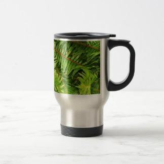 Lush green fern leaves travel mug