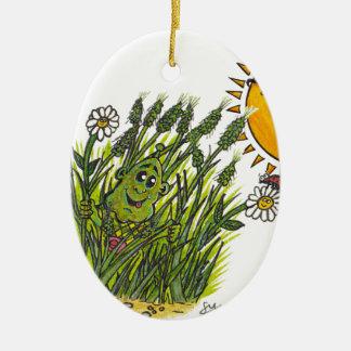 Lush green grasses ceramic ornament