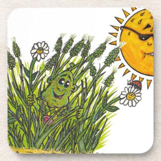 Lush green grasses drink coaster