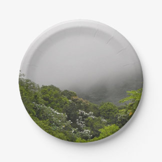 Lush Green Mountains Tropical Rainforest Paper Plate