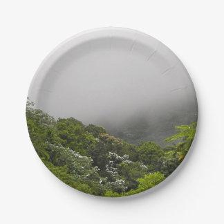 Lush Green Mountains Tropical Rainforest Paper Plate