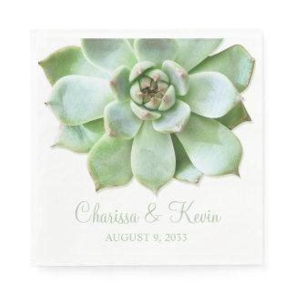 Lush Green Succulent Wedding or Bridal Shower Paper Napkin